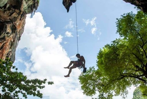 Abseiling in Railay, Krabi, Thailand.