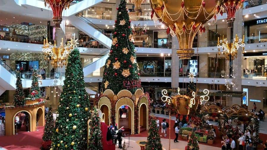 Enormous Christmas Trees in Pavilion Shopping Mall in Kuala Lumpur, Malaysia - in November!