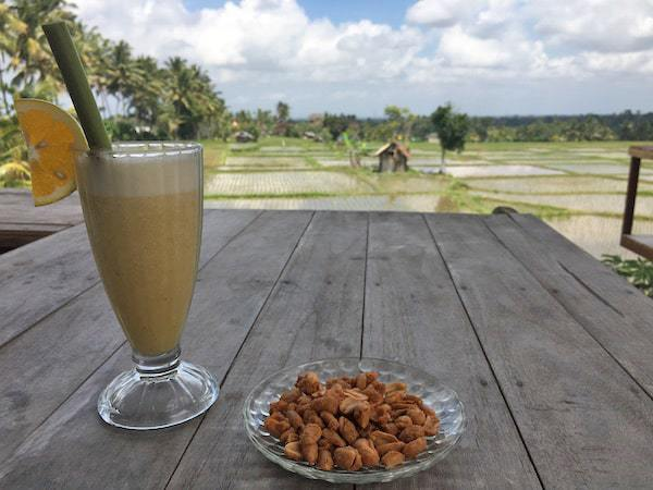 Fresh juice at Joglo Organik, Ubud, overlooking the rice fields.