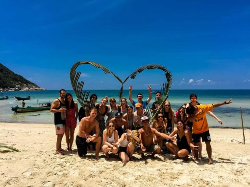 Group Photo on Bottle Beach, Koh Phangan.