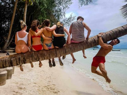 Group of travellers in Koh Tao, Thailand.