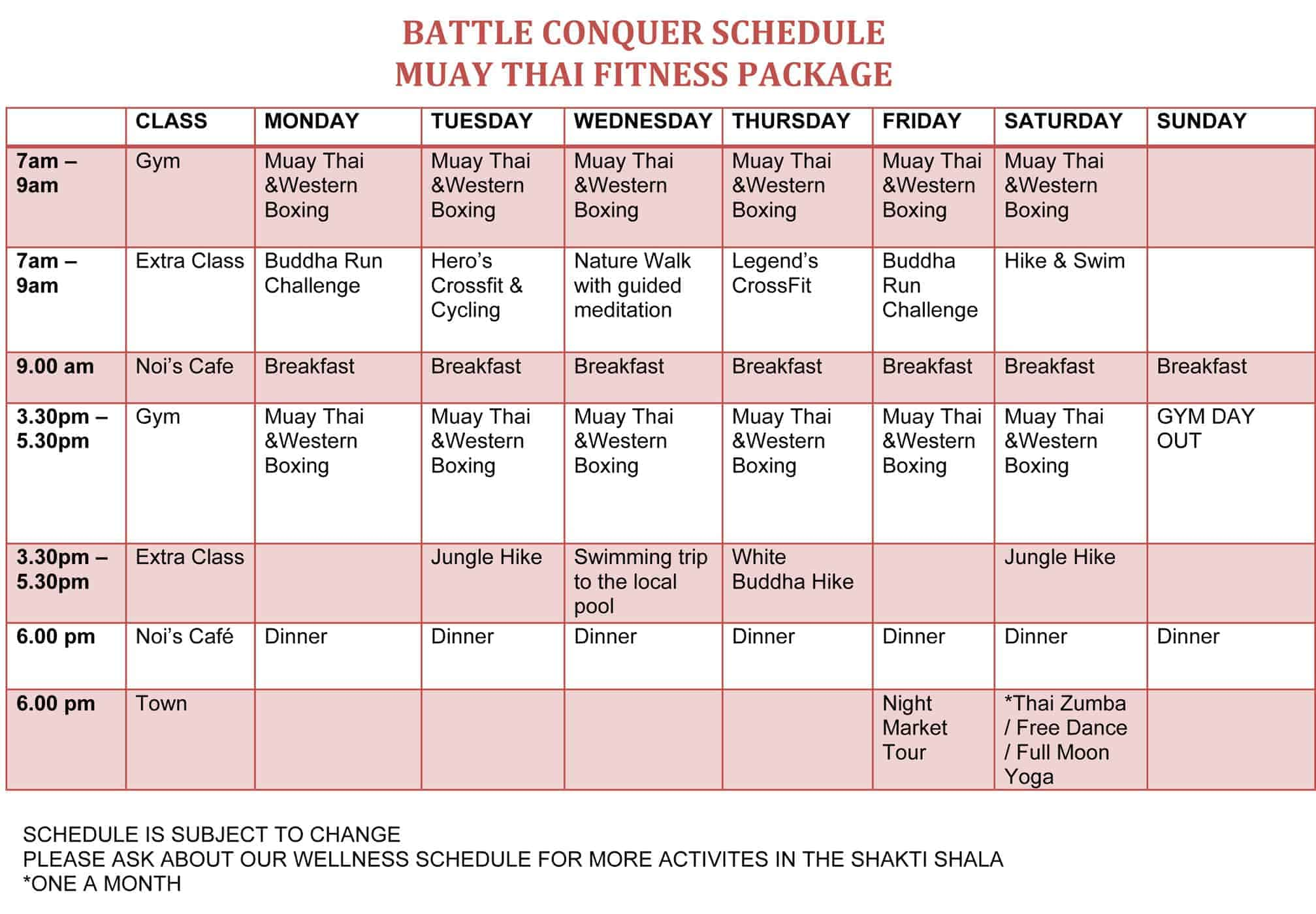 Battle Conquer Muay Thai Schedule