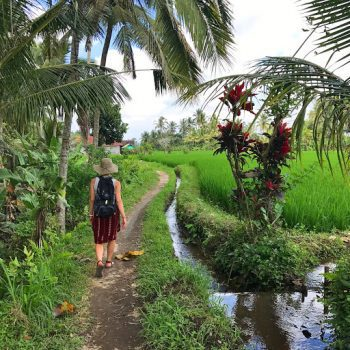 Getting away from it all down the dirt tracks in Ubud, Bali.