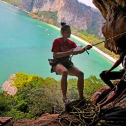 Rock climbing at Railay Viewpoint, Krabi, Thailand.