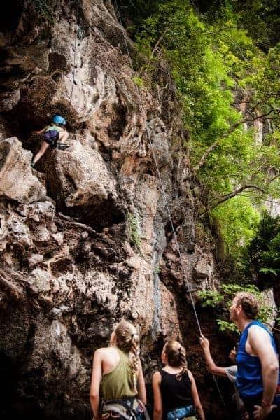 Rock climbing at Railay Beach, Krabi.