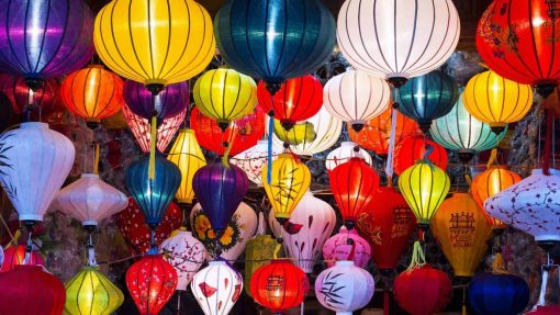Traditional silk lanterns in Hoi An Ancient Town, Vietnam.