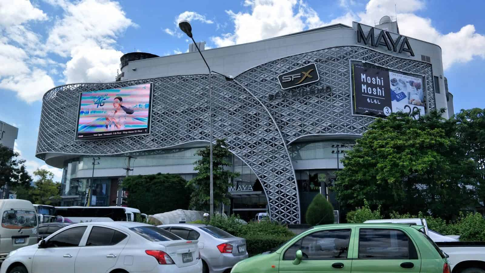 Maya Shopping Mall at the crossroads of Nimman Hamen and Huay Kaew Road.
