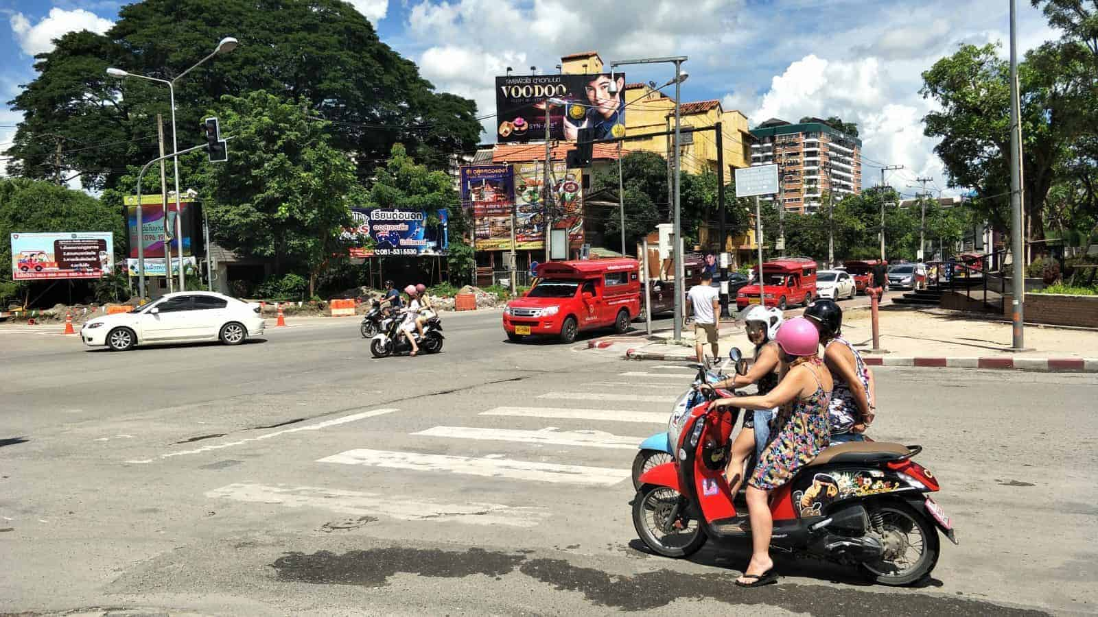 Two Girls on a Scooter in Chiang Mai