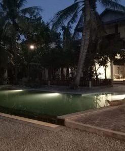 Pool and gym at night - Bohemiaz Phnom Penh Resort.