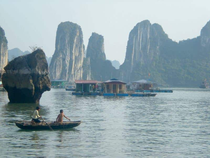 Kids and floating village, Halong Bay