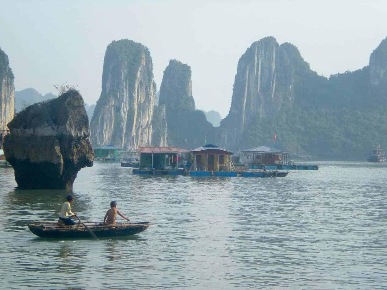 Kids and floating village, Halong Bay