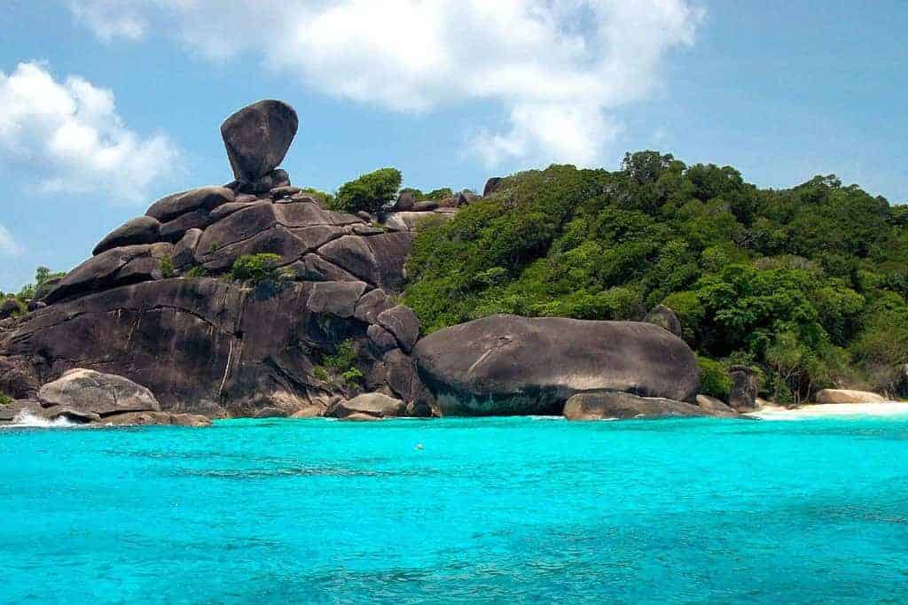 The beautiful turquoise waters of the Similan Islands.