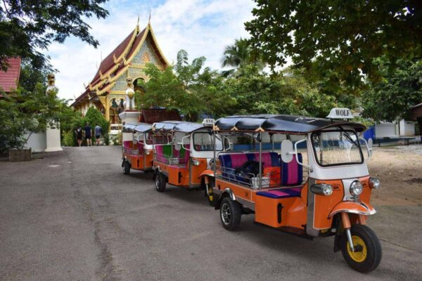 The Tuk Tuk Convoy starting from our base in Chiang Mai!