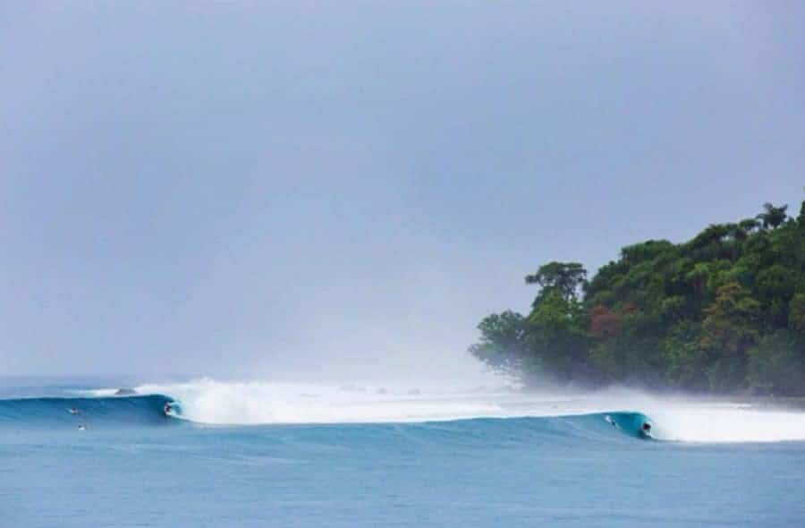 Perfect waves for surfers in Bali.