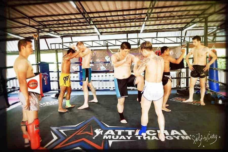 Training at Attachai Muay Thai Camp in Bangkok.