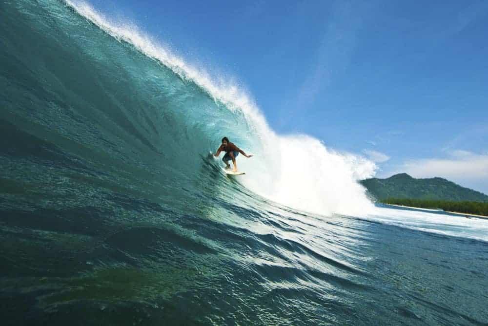 Surfing in Lhoknga Beach, Banda Aceh, Northern Sumatra.