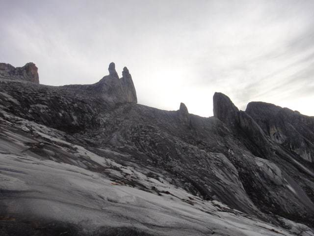 Jagged rock formations, jutting peaks of Kinabalu.