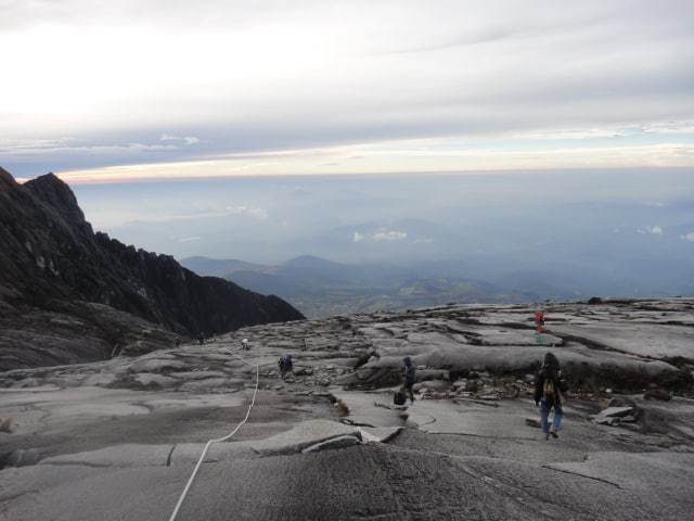 Climbers on Mount Kinabalu in the early morning.