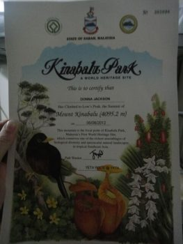 Kinabalu Park Certificate
