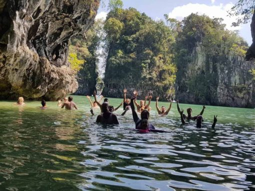 Day out exploring Krabi! Group in the water.