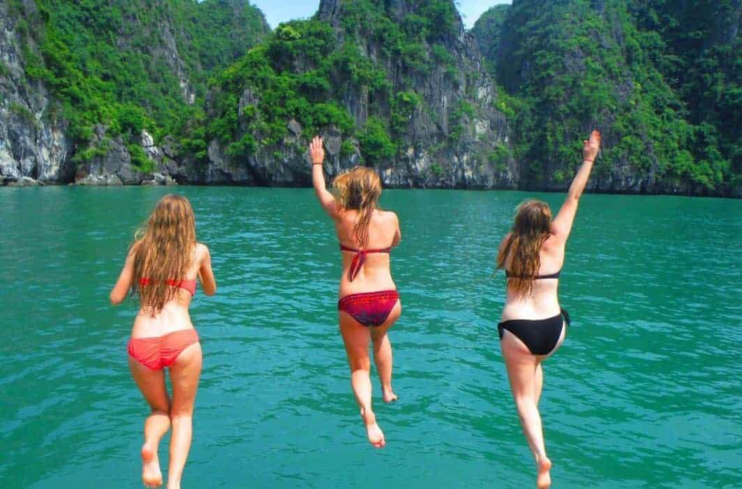 Boat jumping in Halong Bay