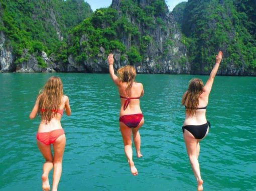 Boat jumping in Halong Bay