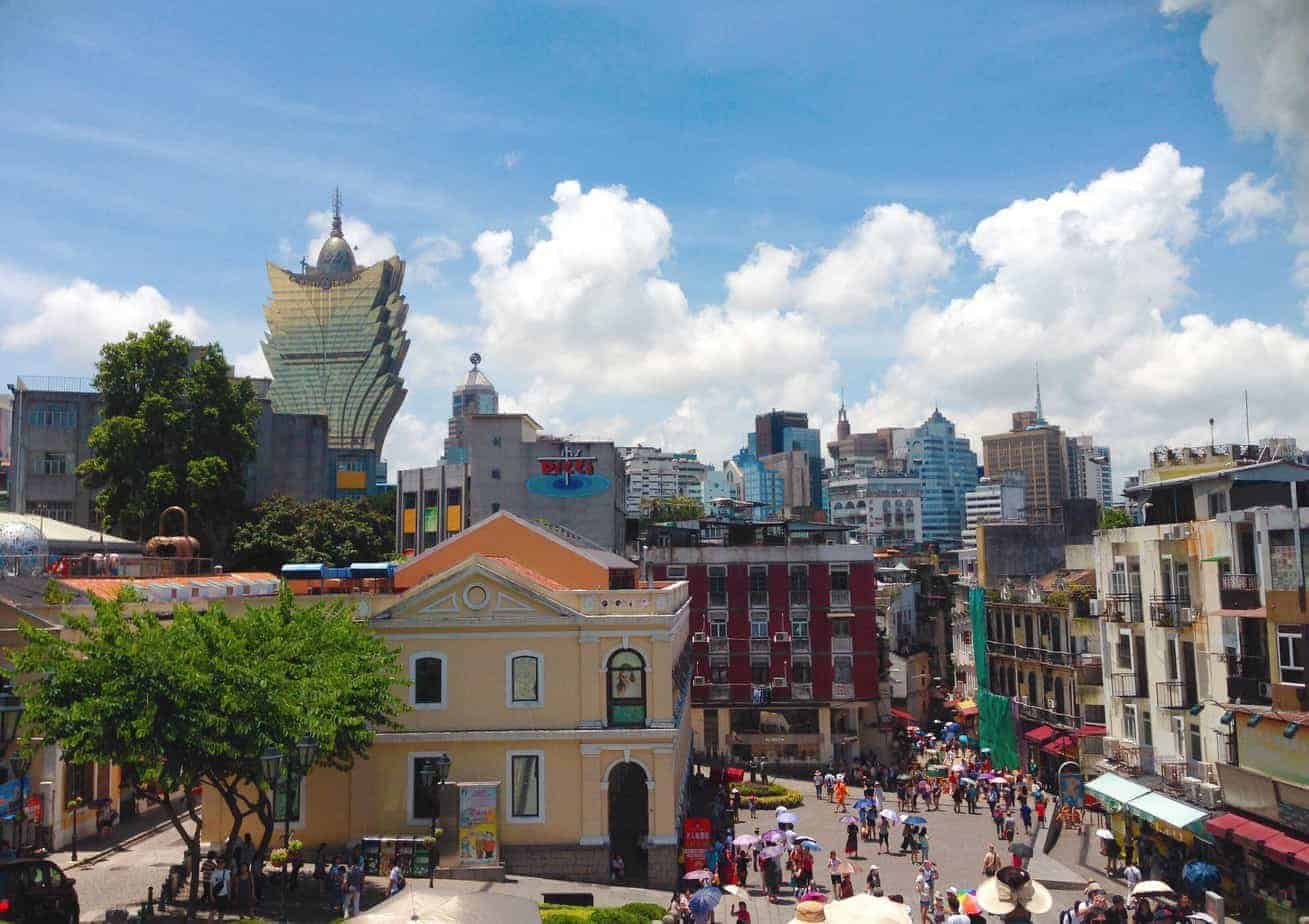 Macau: A contrast between the old and the new.