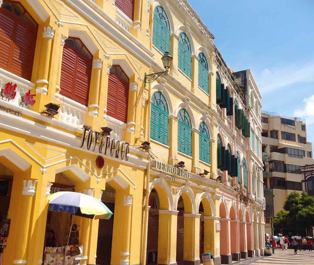 Old Portuguese colonial buildings in Senado Square, Macau.