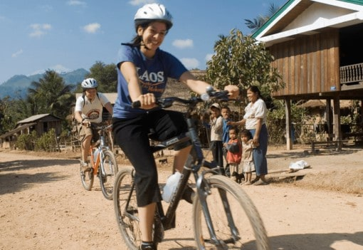 Cycling through villages Northern Laos