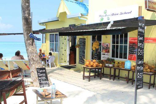 Cute little café in the Maldives.