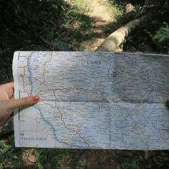 Map of trekking in Laos