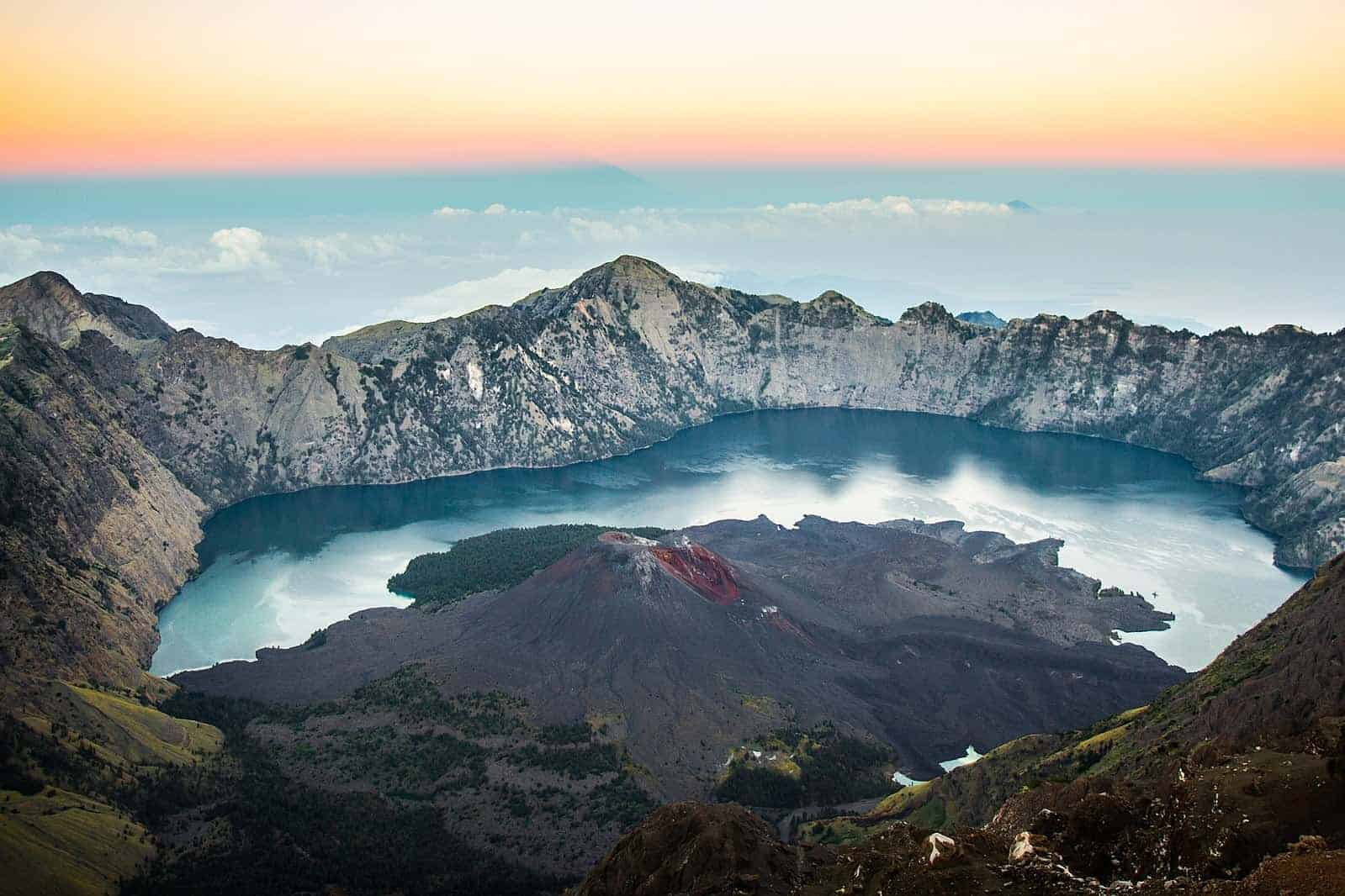 Crater lake of Mount Rinjani, Indonesia