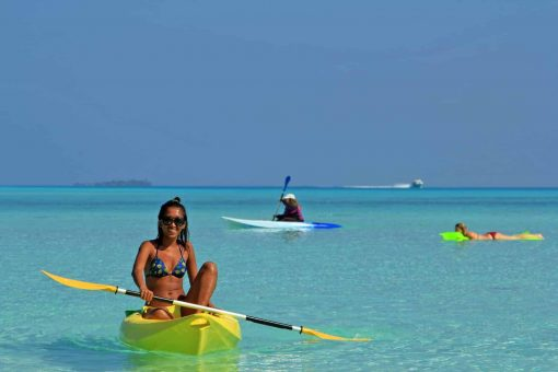 Kayaking on crystal clear waters in Maldives!