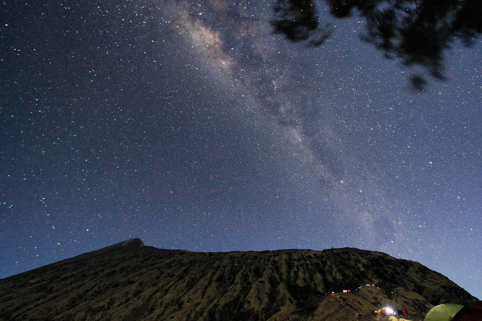 Starry sky above Mount Rinjani, Lombok, Indonesia.