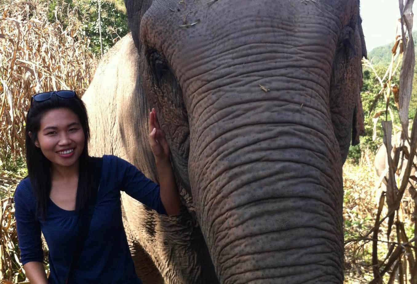 The author of the article, Tidarat Jitsook with an elephant in Chiang Mai, Thailand.