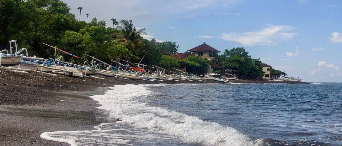 The black sands of Amed Beach, Bali.