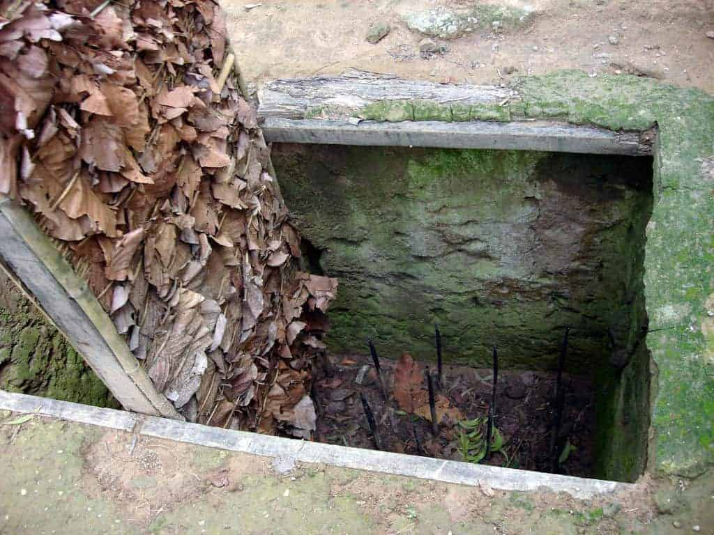 A booby trap with spikes at Cu Chi Tunnels