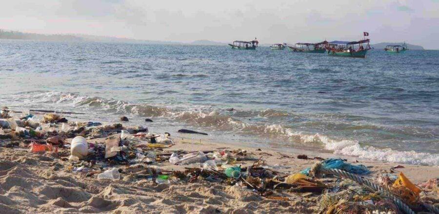 Litter-strewn Otres Beach, Sihanoukville.