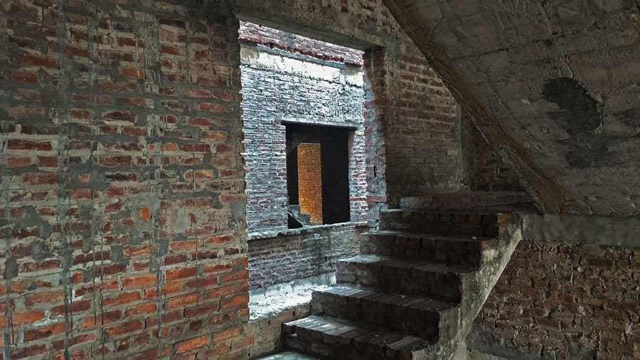 A staircase in an abandoned half-built building at Lideco Bac 32, Hanoi