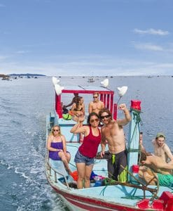 A Group of Backpackers on a boat