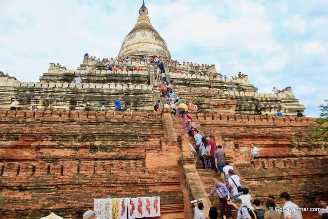 Climbing Shwesandaw Pagoda in Bagan, Myanmar
