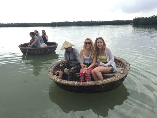 Basket boat sailing in Hoi An