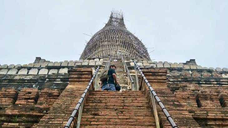 Scaffolding surrounds a temple in Bagan.
