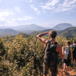 Trekking in the lush Laos Countryside.