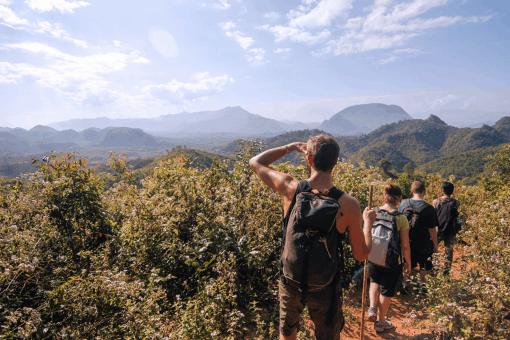 Trekking in the lush Laos Countryside.