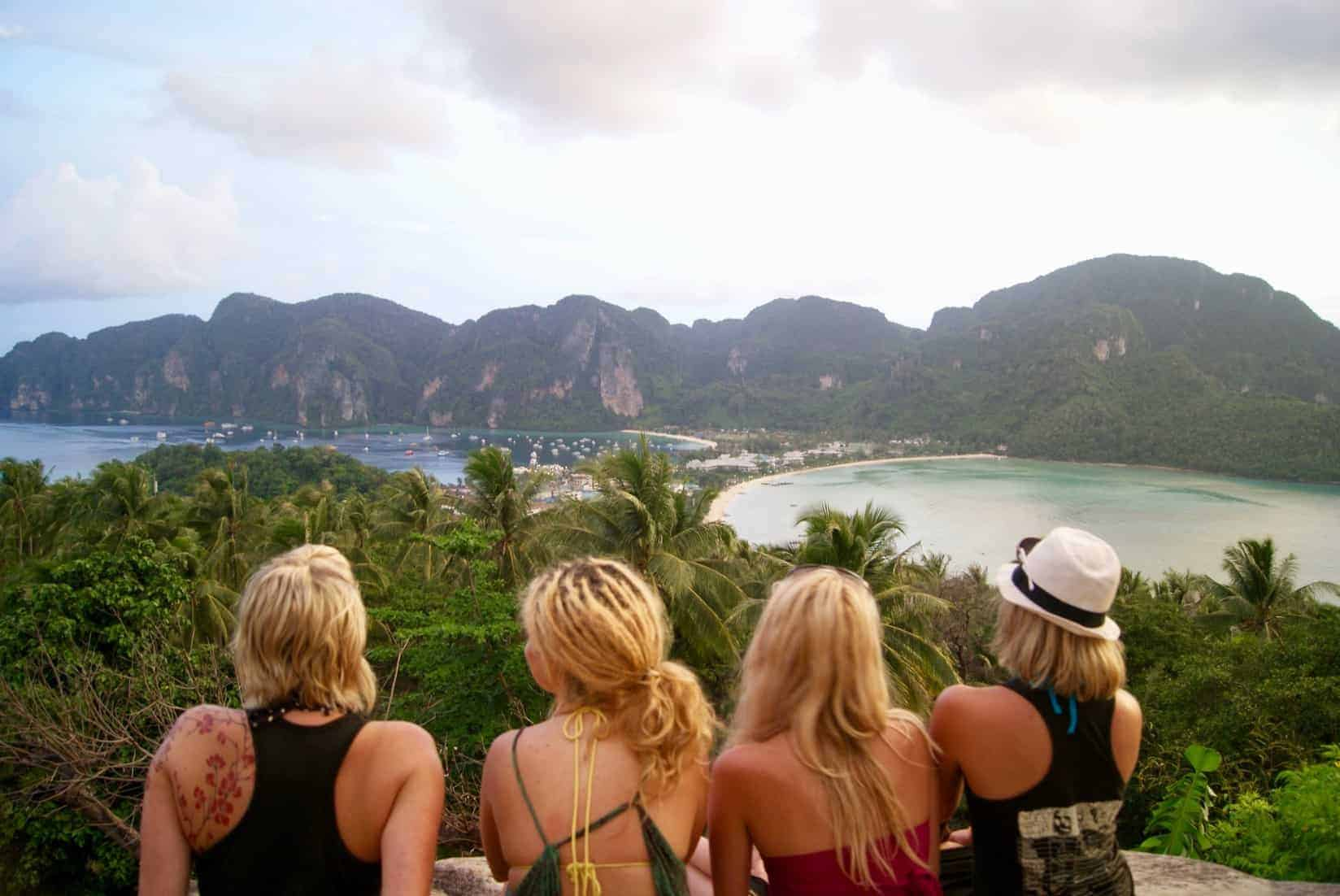 Group of backpackers watch the sunset in Thailand.