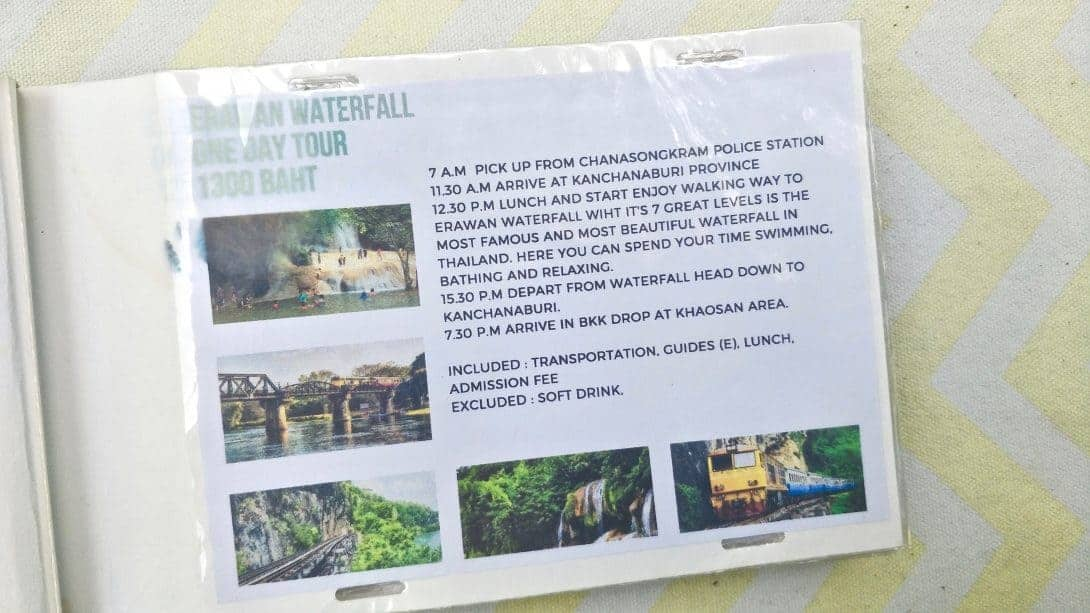 Day Trip to Erawan Waterfall advertised in a hostel