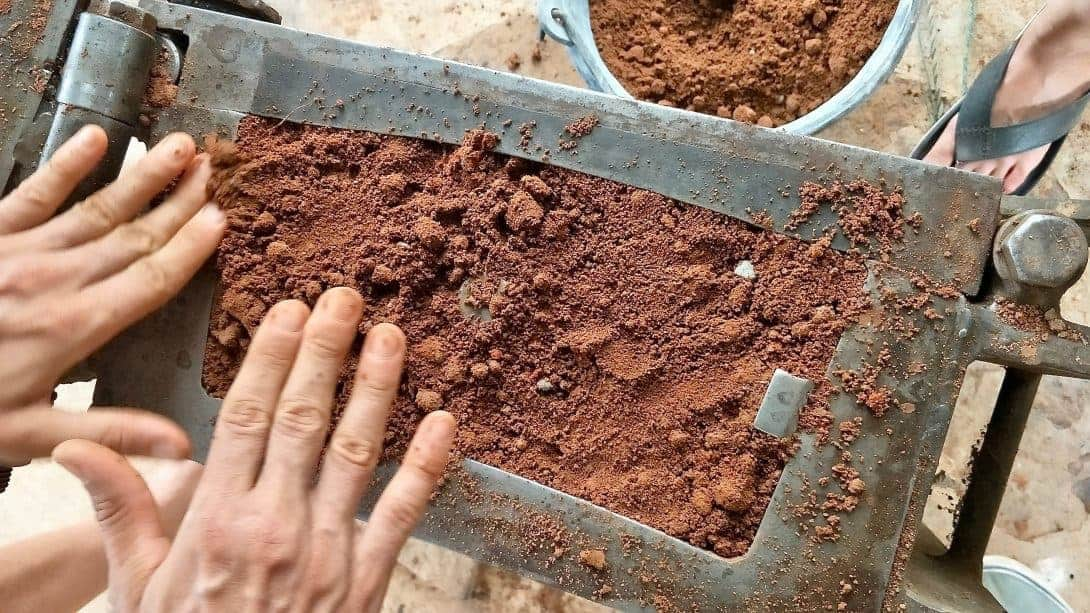 Homemade bricks, just like baking a cake!
