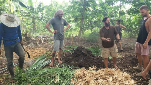Making compost on a Permaculture Design Course in Thailand