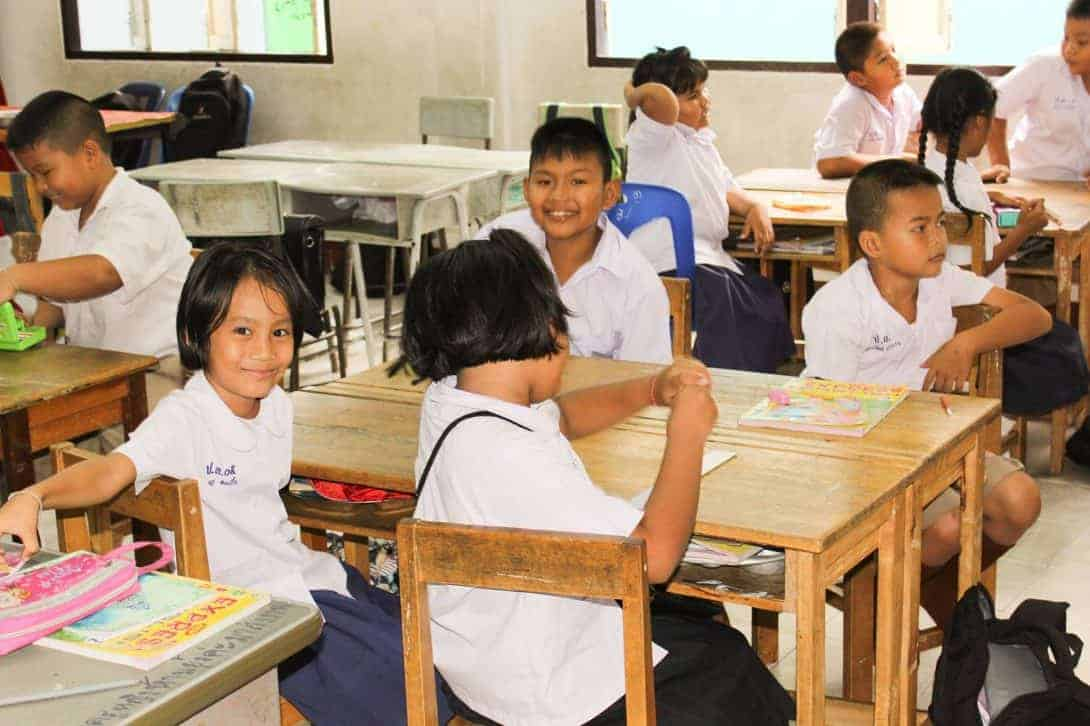 Thai students in a classroom in Thailand